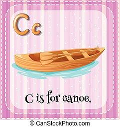 flashcard, c, lettera, canoa