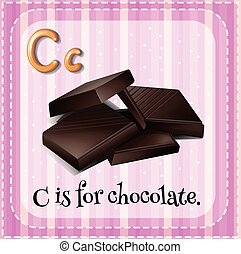 flashcard, c, lettera, cioccolato