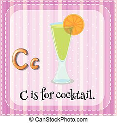 flashcard, c, lettera, cocktail