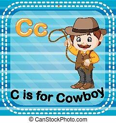 flashcard, c, lettera, cowboy