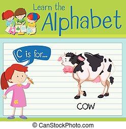 flashcard, c, lettera, mucca