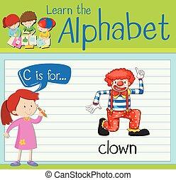 flashcard, c, lettera, pagliaccio