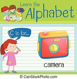 flashcard, c, macchina fotografica, lettera