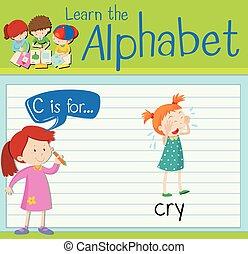 flashcard, c, piangere, lettera