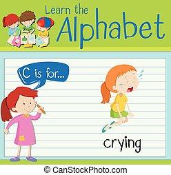 flashcard, c, pianto, lettera