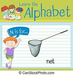 flashcard, carta n, é, para, rede