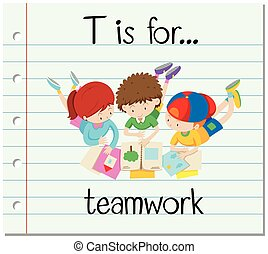 flashcard, collaboration, t, lettre