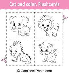 flashcard, coloration, lion, dessin animé, iguane, set., kids., animal., color., singe, livre, character., elephant., mignon, coupure