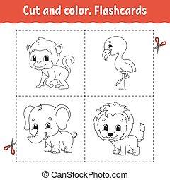 flashcard, coloration, lion, dessin animé, kids., set., animal., color., singe, livre, character., flamant rose, elephant., mignon, coupure