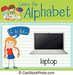 flashcard, computador portatil, l, carta