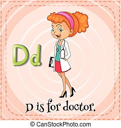 flashcard, d , γράμμα , γιατρός