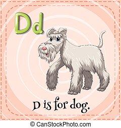 flashcard, d, 手紙, 犬