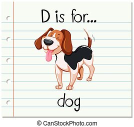 flashcard, d, carta, perro