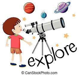 flashcard, dall'aspetto, capretto, telescopio, esplorare, ...