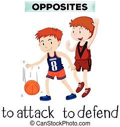flashcard, defender, ataque, palabras, contrario