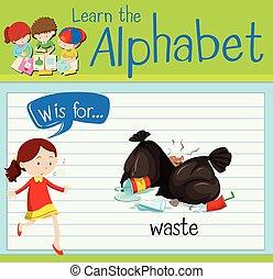 flashcard, desperdício, w, letra
