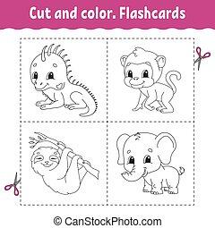 flashcard, dessin animé, coloration, iguane, set., kids., paresse, animal., color., singe, livre, character., elephant., mignon, coupure