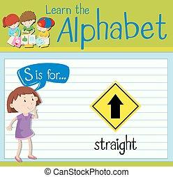 flashcard, directement, s, lettre