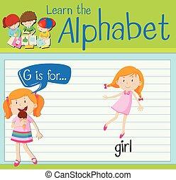 flashcard, dziewczyna, litera g