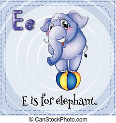 flashcard, e, elefant