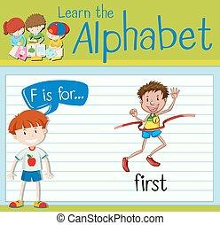 flashcard, eerst, brief f