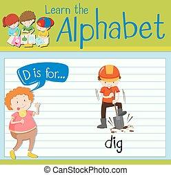 flashcard, escavação, d, letra