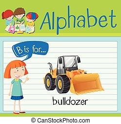 flashcard, escavadora, b, letra