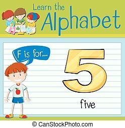 flashcard, fünf, buchstabe f