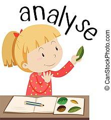 flashcard, für, wort, analysieren, mit, m�dchen, anschauen, blätter