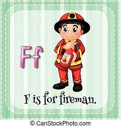 flashcard, f, 手紙, 消防士