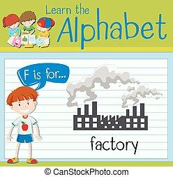 flashcard, fabriek, brief f