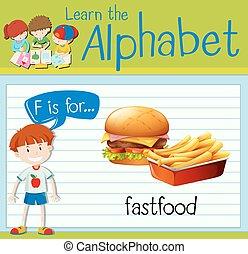 flashcard, fastfood, f de carta