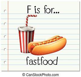 flashcard, fastfood, lettre f