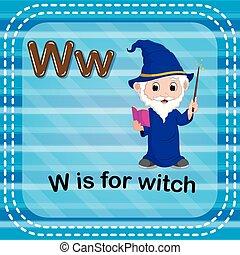 flashcard, feiticeira, w, letra