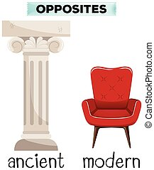 Flashcard for opposite words ancient and modern illustration