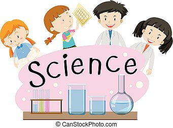 Flashcard for word science with kids in lab