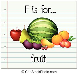 flashcard, fruit, brief f