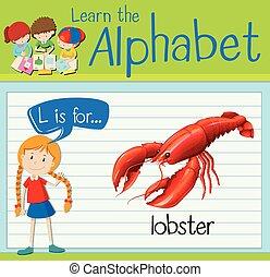 flashcard, homar, l, litera