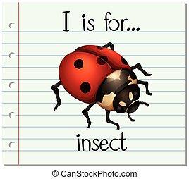 flashcard, inseto, letra