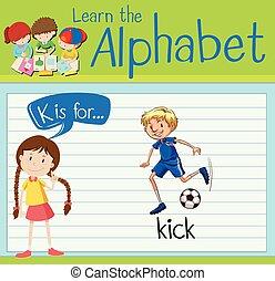 flashcard, k, calcio, lettera