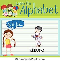 flashcard, k, chimono, lettera
