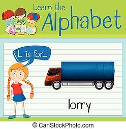flashcard, l, carta, camión