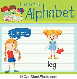 flashcard, l, letra, perna
