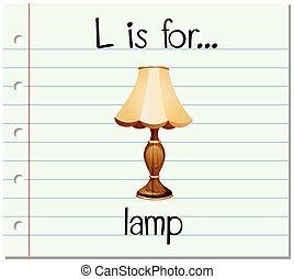 flashcard, lampa, l, litera