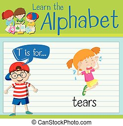 flashcard, larmes, t, lettre