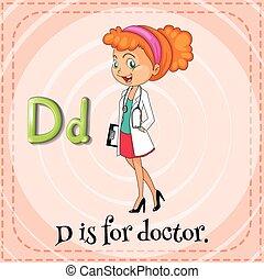 flashcard, letra, d, é, para, doutor