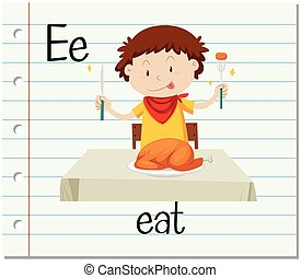 flashcard, letra e, es, para, comer