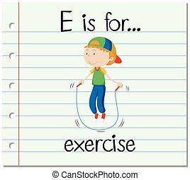 flashcard, letra e, es, para, ejercicio