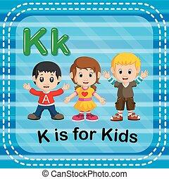 flashcard, letra k, es, para, niños