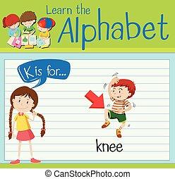 flashcard, letra k, es, para, rodilla